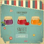 image of jar jelly  - Confectionery Menu Card in Retro style  - JPG