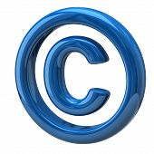 stock photo of plagiarism  - Illustration of blue copyright symbol isolated on white background - JPG