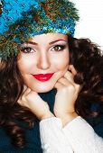 stock photo of knitwear  - Happy Woman in Blue Knitted Cap and Knitwear  - JPG