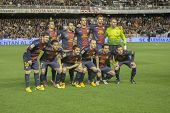 VALENCIA - FEBRUARY 3: FC Barcelona Team during Spanish League match between Valencia CF and FC Barc