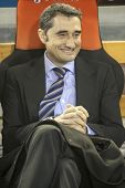 VALENCIA - FEBRUARY 3: Valencia CF coach Valverde during Spanish League match between Valencia CF an