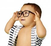 stock photo of casual wear  - Portrait Of Baby Boy Wearing Eyeglasses Isolated On White Background - JPG
