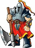 foto of paladin  - Knight warrior with a giantic axe vector illustration cartoon style - JPG