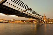 London Landmark - Millenium Bridge And St Pauls Cathedral poster