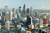 image of view from space needle  - Seattle downtown skyline with view of Mt - JPG