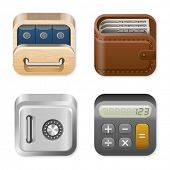 Icons trendy templates for Finance and Business applications. Drawer, Wallet, Vault, Calculator. UI