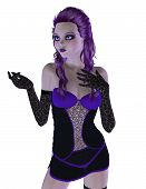 Gothic Girl In Violet Dress