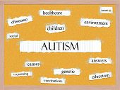 stock photo of pegboard  - Autism Corkboard Word Concept with great terms such as disease social children genetic and more - JPG