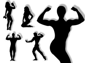 picture of body builder  - Body builder silhouette in different poses and attitudes - JPG