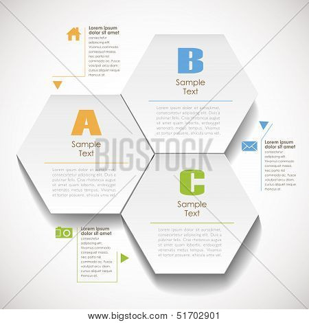 Vector Abstract 3D Hexagonal Paper Infographics
