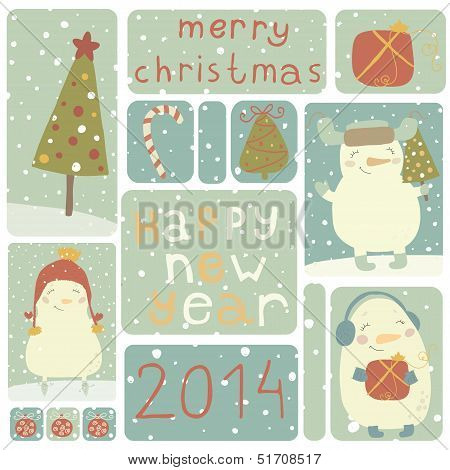 A set of Christmas stickers with snowmans