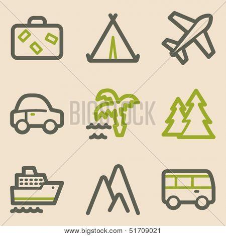 Travel web icons set 1, vintage series