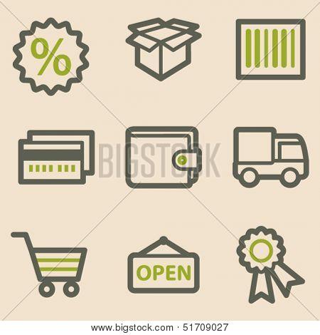 Shopping web icons set 2, vintage series