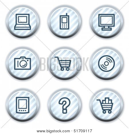 Electronics web icons set 1, stripped light blue circle buttons