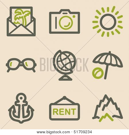 Travel web icons set 5, vintage series