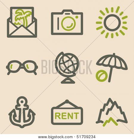 Travel web icons set 5, vintage series