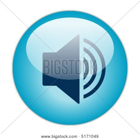 Glassy BLue Increase Volume Icon