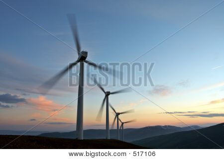 Wind Turbine Farm Turning (movement Sensation)