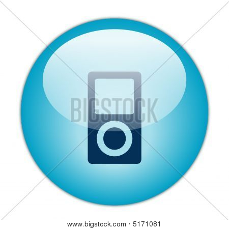 Glassy Blue Music Player Icon
