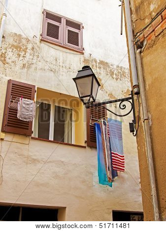 France, Cote d'Azur, in October 2013. Typical architectural details of the old French town of Antibe