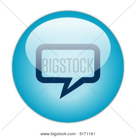 Glassy Blue Rectangular Chat Icon