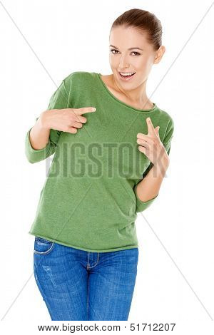 Groovy trendy young woman laughing and gyrating her body pointing her fingers  isolated on white