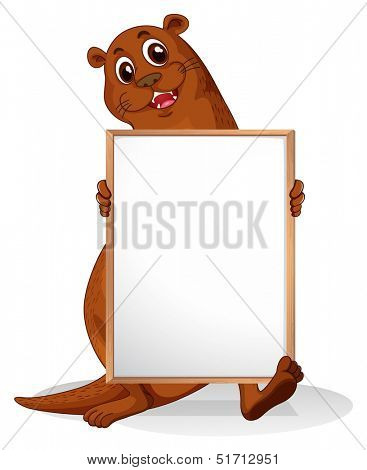 Illustration of a sealion holding an empty whiteboard on a white background