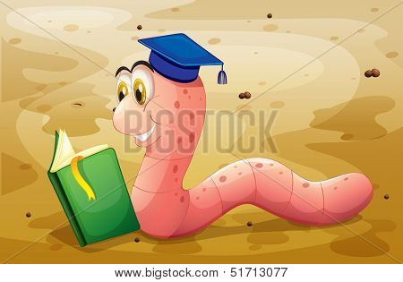 Illustration of an earthworm reading a book at the ground