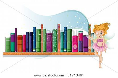 Illustration of a fairy flying beside a wooden shelf on a white background