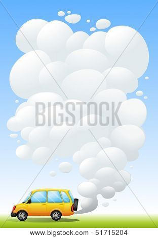 Illustration of a yellow van emitting smoke