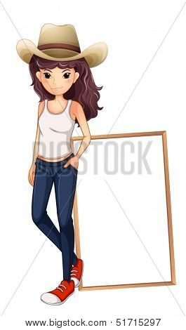 Illustration of a girl with a hat standing in front of the empty board on a white background