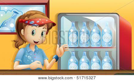 Illustration of a girl near a fridge with bottles of soda