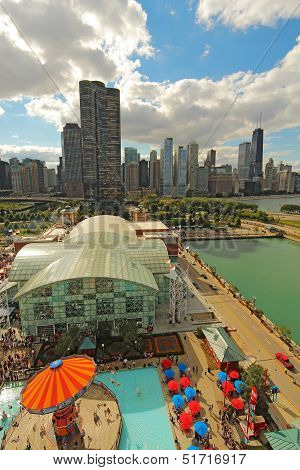 Aerial View Of Navy Pier And The Chicago, Illinois Skyline