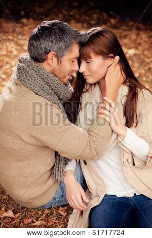 romantic couple lovers in woods