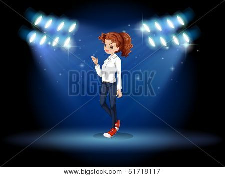 Ilustration of a smart looking girl at the stage