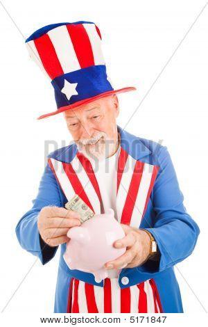 Uncle Sam Saving Money