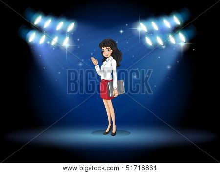Illustrations of a lady holding a binder standing in the middle of the stage
