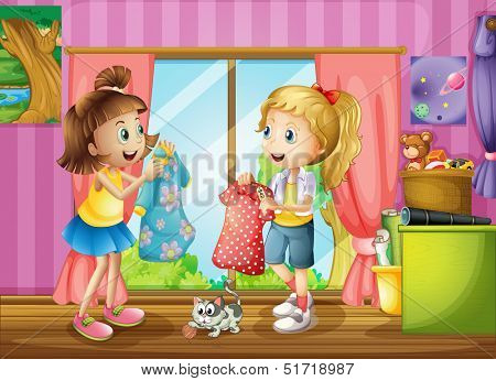 Illustration of the two girls talking about their dresses