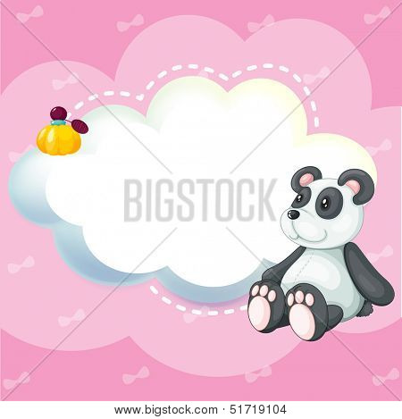 Illustration of a stationery with a panda