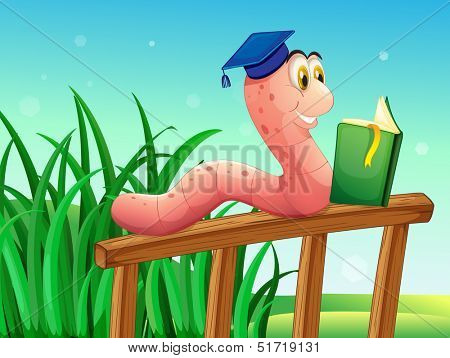 Illustration of a worm reading a book above the fence