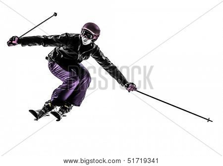 one caucasian woman skier skiing slaloming in silhouette on white background