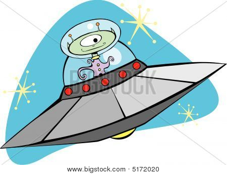 Retro Flying Saucer And Martian.