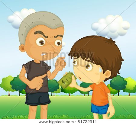Illustration of a boy scolding a kid with a money