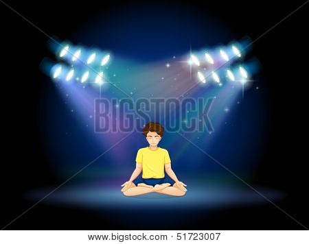Illustration of a stage with a man doing yoga
