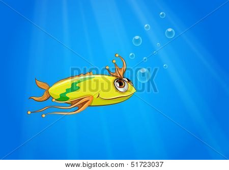 Illustration of a yellow fish swimming under the sea