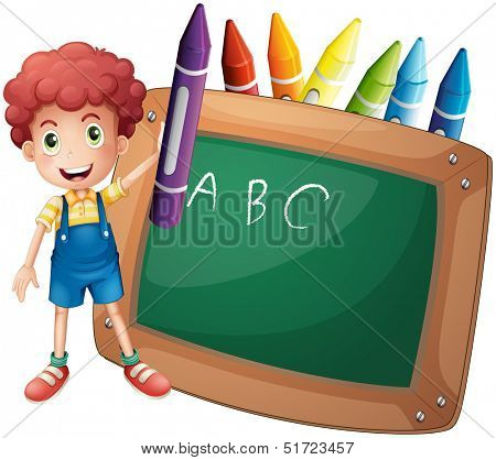 Illustration of a little boy holding a big violet crayon near the blackboard on a white background