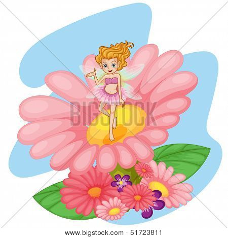 Illustration of a flower pixie above a big pink flower on a white background