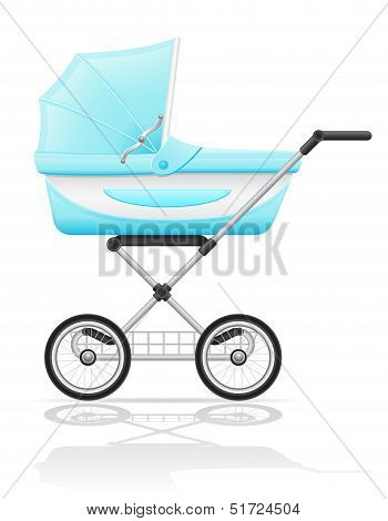 Babys Perambulator Blue Vector Illustration