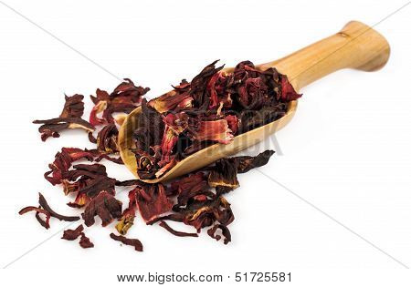 Wooden Scoop With Dry Sudanese Rose Petals