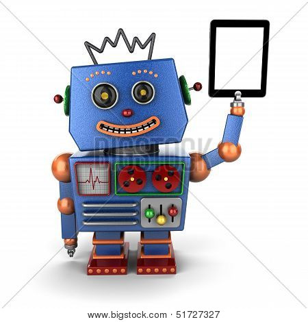 Vintage Toy Robot With Tablet Pc